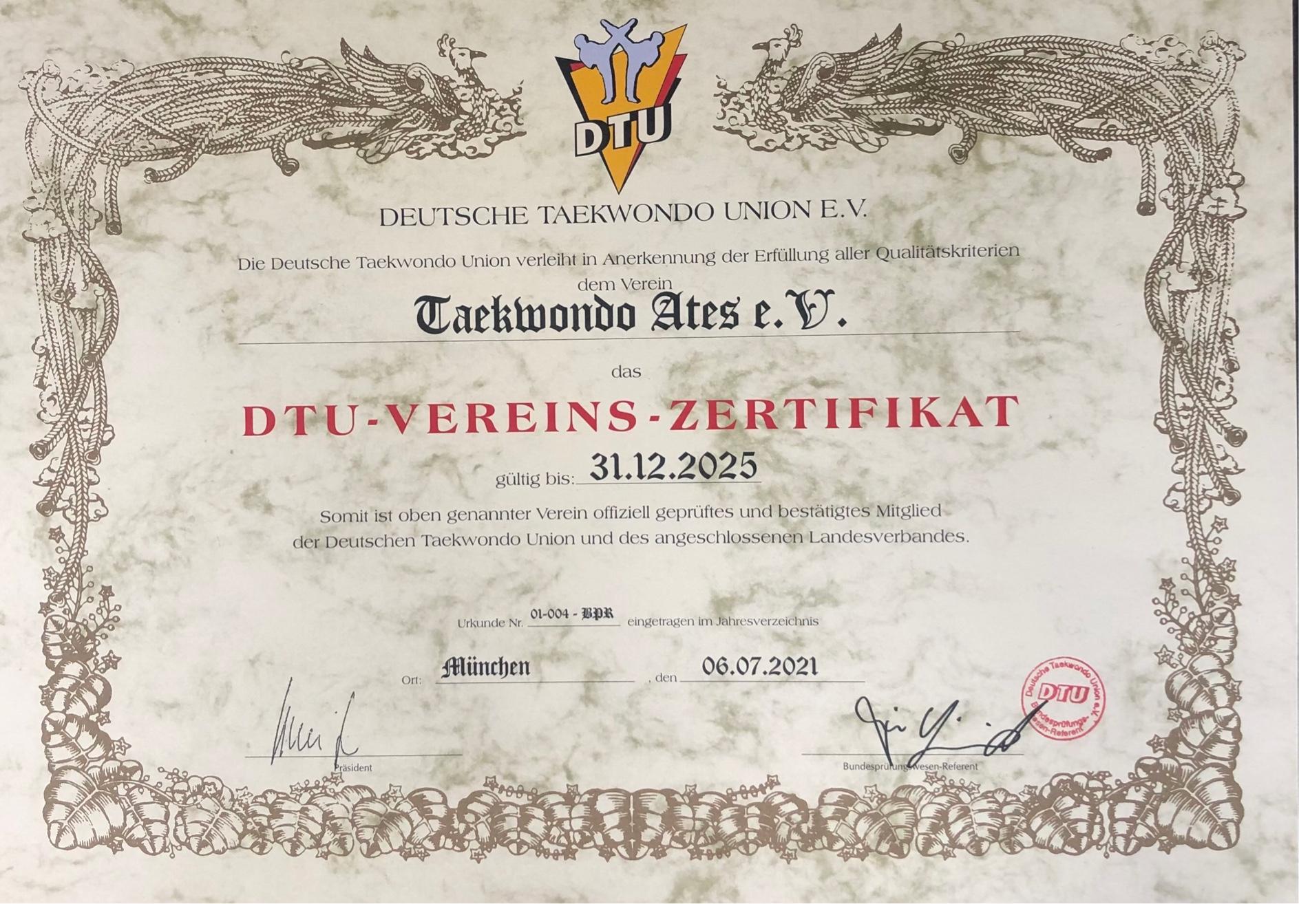 """Taekwondo Ates e.V. erhält wiederholt das DTU-Vereinszertifikat. """"Geprüftes Mitglied der Deutschen Taekwondo Union (DTU)"""", dem einzigen in Deutschland anerkannten Fachsportverband für olympisches Taekwondo!"""